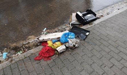 Müll am Lessingplatz in Chemnitz